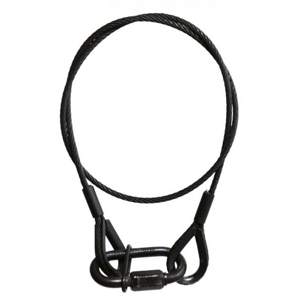 Adam Hall Accessories S 37062 B - Sicherungsseil 3 mm mit Kettenglied 0,6 m lang schwarz