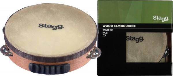 """STAGG TAWH-061 6"""" vorgestimmtes Holz-Tamburin mit 1 Reihe Schellen"""