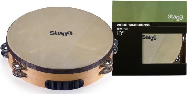 """STAGG TAWH-102 10"""" vorgestimmtes Holz-Tamburin mit 2 Reihen Schellen"""