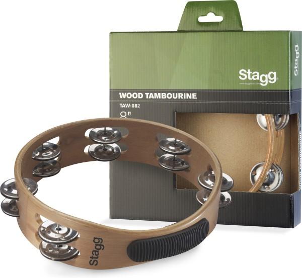 """STAGG TAW-082 8"""" Tamburin aus Holz, ohne Fell, mit 2 Reihen Schellen"""