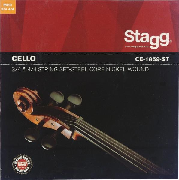 STAGG CE-1859-ST 4/4 u. 3/4 Cello, Saitensatz, Stahl m. nickel rund gewickelt