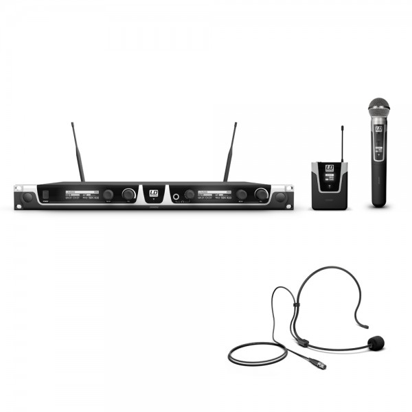 LD Systems U505 HBH 2 - Funkmikrofon System mit Bodypack, Headset und Handmikrofon dynamisch
