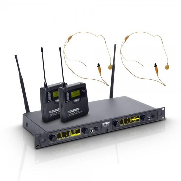 LD Systems WIN 42 BPHH 2 - Funkmikrofon System mit 2 x Belt Pack und 2 x Headset beigefarben
