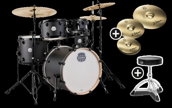 Mapex Schlagzeug Storm Fusion Black mit Planet Z Bundle