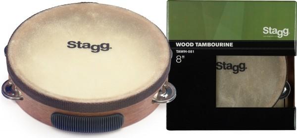 """STAGG TAWH-081 8"""" vorgestimmtes Holz-Tamburin mit 1 Reihe Schellen"""