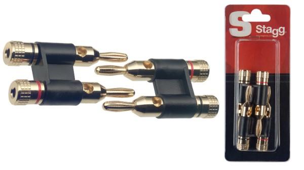 STAGG B0300H 2x Doppel banana stecker für lautsprechers - Gold tip