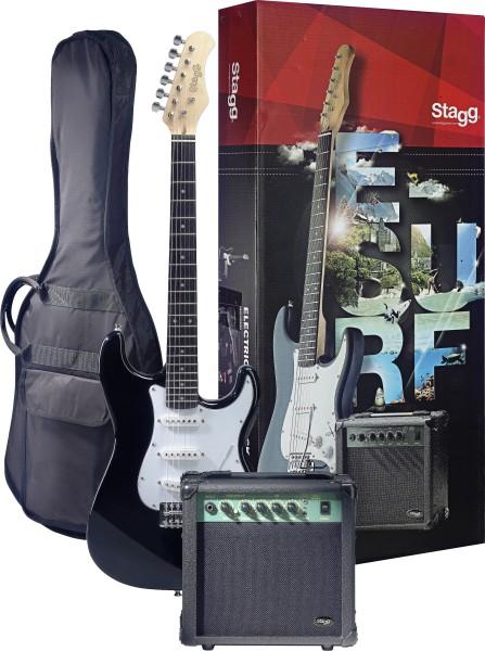 STAGG ESURF 250 BK EU Surfstar E-Gitarre + Verstärker Pack