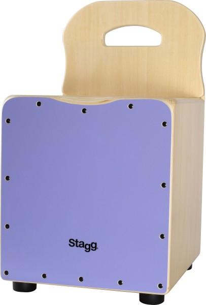 STAGG CAJ-KID PP Basswood Kinder-Cajon mit EasyGo-Rückenlehne, Frontplatte violett