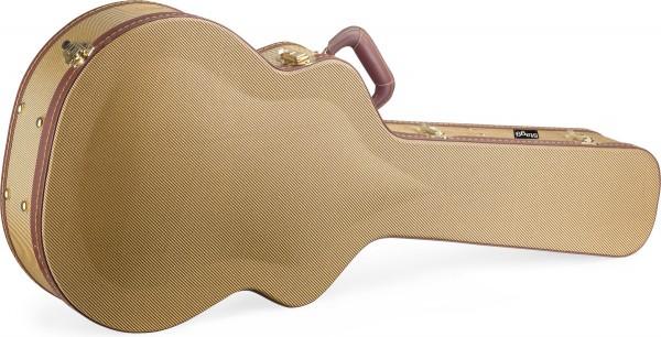 STAGG GCX-J GD Vintage-Stil Serie Gold Tweed Deluxe Hartschalenkoffer für Jumbo Gitarre