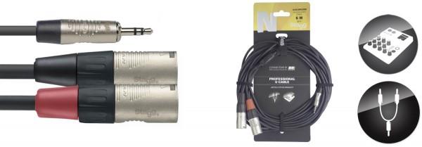 STAGG NUC6/MPS2XMR U Kabel, Mini-Klinke/XLR (m/m) 6 m, N-Serie