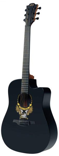 LAG Westerngitarre, Wings of Freedom, Dreadnought, Highgloss schwarz, Pickup