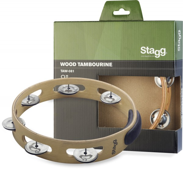 """STAGG TAW-081 8"""" Tamburin aus Holz, ohne Fell, mit 1 Reihe Schellen"""