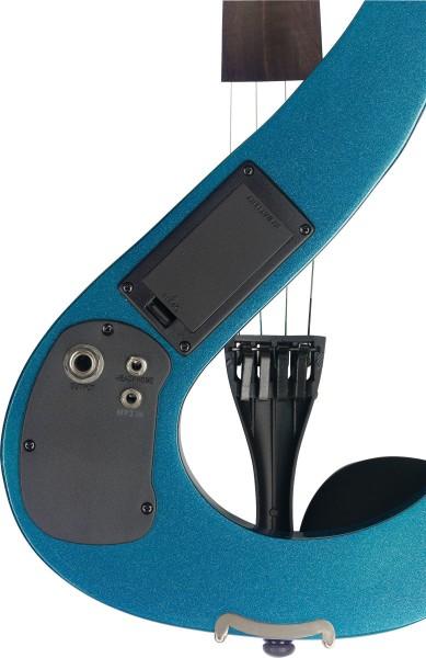 STAGG EVN 4/4 MBL 4/4 E-Violine, Set mit E-Violine in S-Form in Blau Metallic, Softcase und Kopfhöre