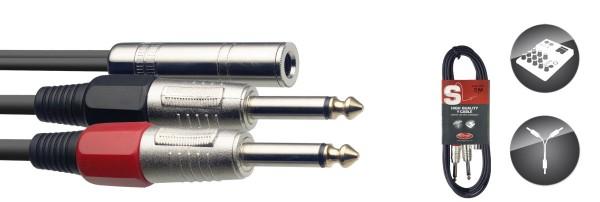STAGG SYC3/J2P E Y-Kabel, Klinke/Klinke (f/m), 3 m