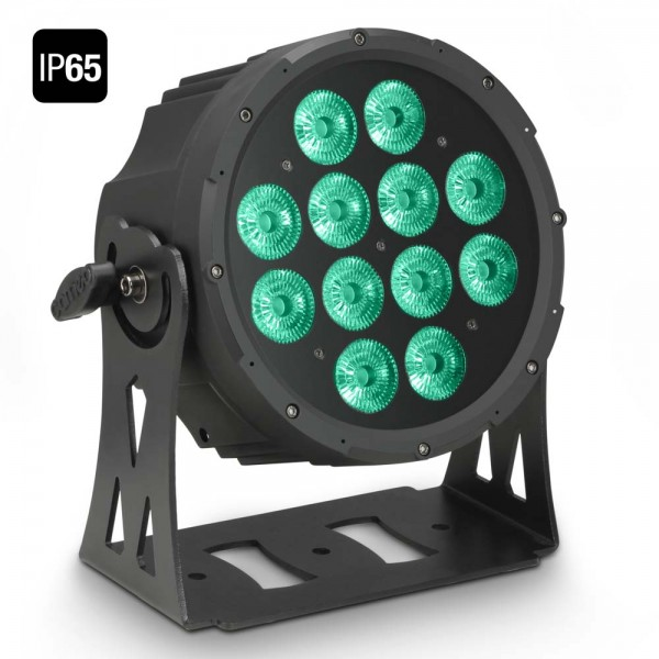 Cameo FLAT PRO 12 IP65 - 12 x 10 W FLAT LED RGBWA Outdoor PAR Scheinwerfer in schwarzem Gehäuse