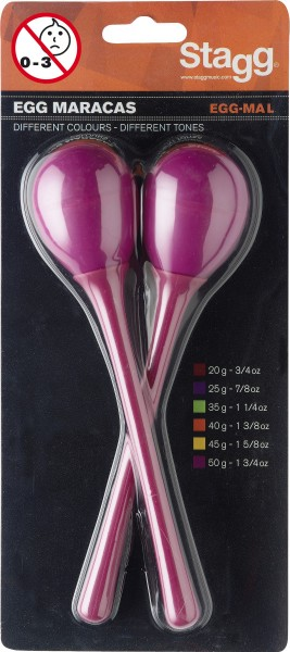 STAGG EGG-MA L/MG Maracas (Paar), Kunststoff eiförmig m. langem Griff