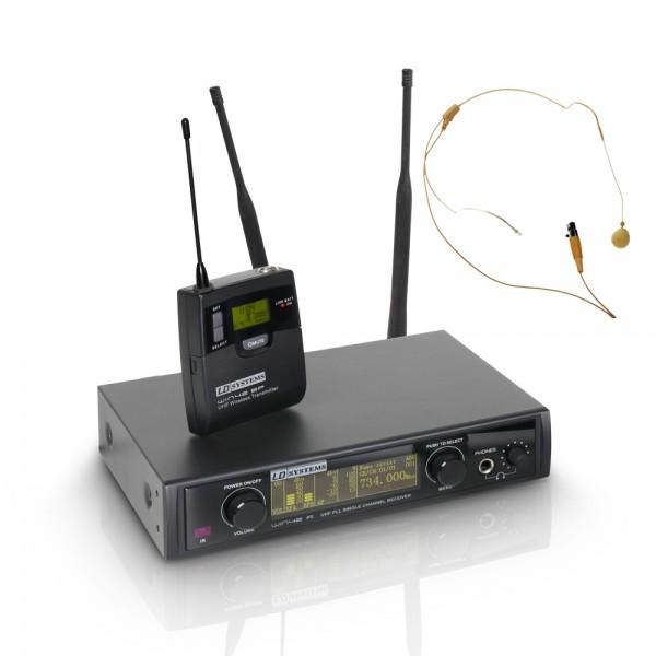 LD Systems WIN 42 BPHH - Funkmikrofon System mit Belt Pack und Headset beigefarben