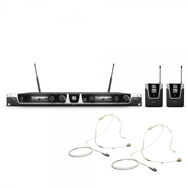 LD Systems U508 BPHH 2 - Funkmikrofon System mit 2 x Bodypack und 2 x Headset beigefarben