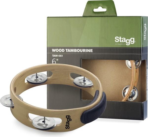 """STAGG TAW-061 6"""" Tamburin aus Holz, ohne Fell, mit 1 Reihe Schellen"""