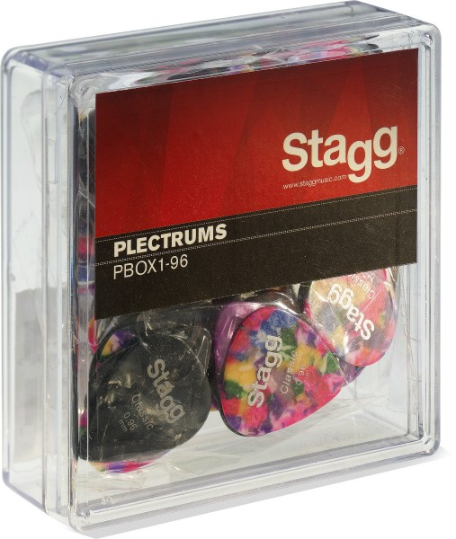 """STAGG PBOX1-96 Box mit 100 Stagg 0.96 mm (0.038"""") Standard Kunststoff-Plektren, verschiedene Farben"""